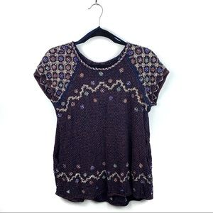 Free People Beaded Knit Short Sleeve Tunic Medium